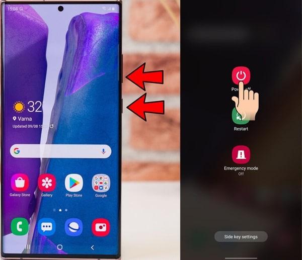Khởi động lại điện thoại Samsung Note 20 Ultra là thủ thuật đơn giản nhất