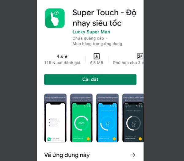 App tăng độ nhạy cảm ứng