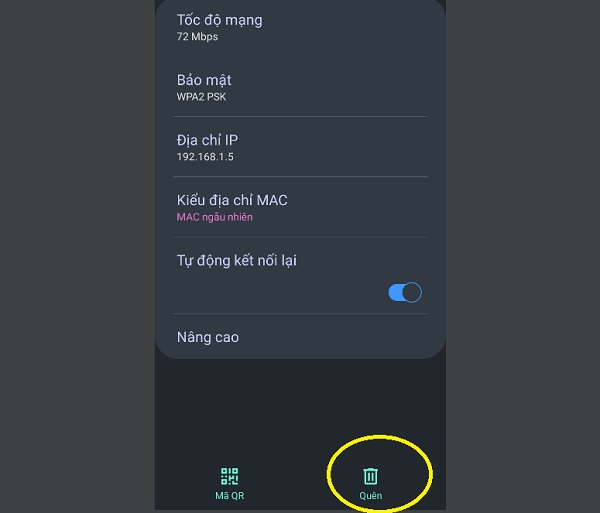 Quên mạng wifi và kết nối lại